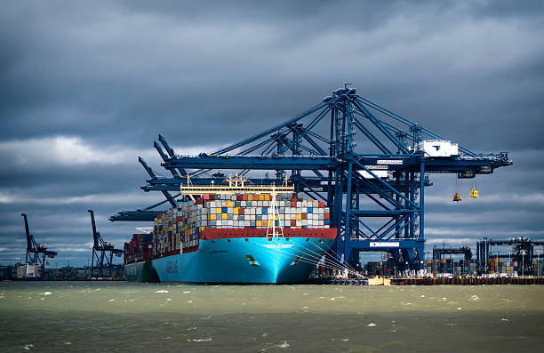 Loaded container ships at Felixstowe stock photo