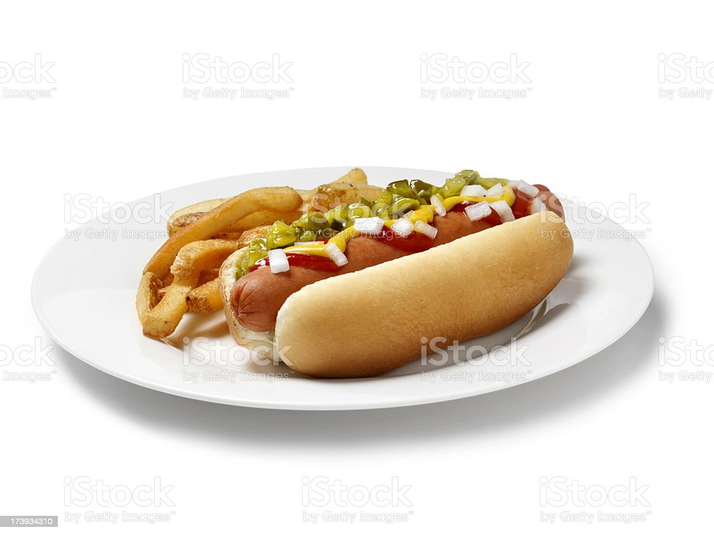 Loaded Hot Dog with Fries royalty-free stock photo