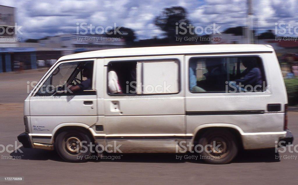 Loaded passenger van in Zambia royalty-free stock photo