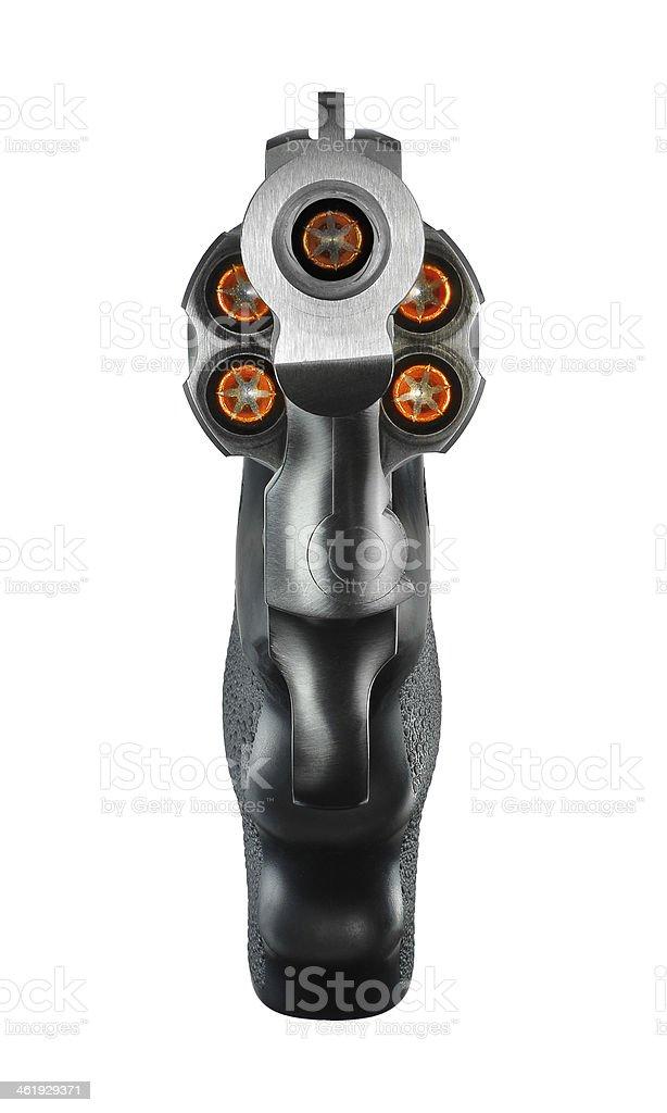 Revólver ha cargado en la cámara con ammuntion - foto de stock
