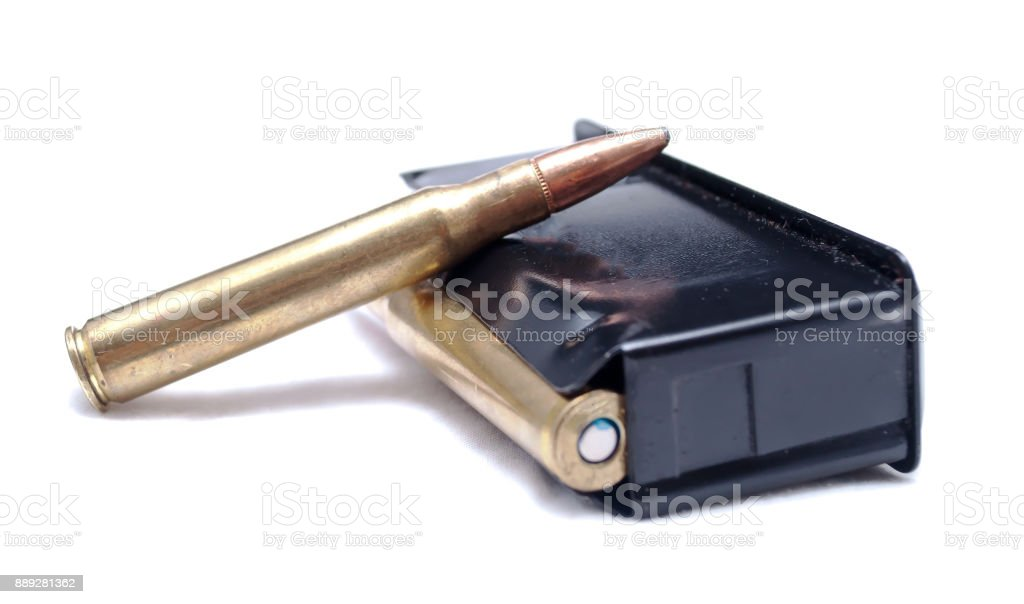 A loaded rifle magazine stock photo