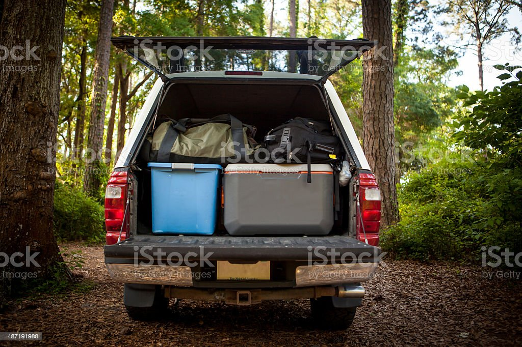 Loaded up after a camping trip stock photo