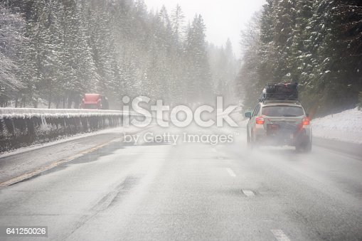 144334852istockphoto Loaded up family car on snowy Pacific Northwest road trip 641250026