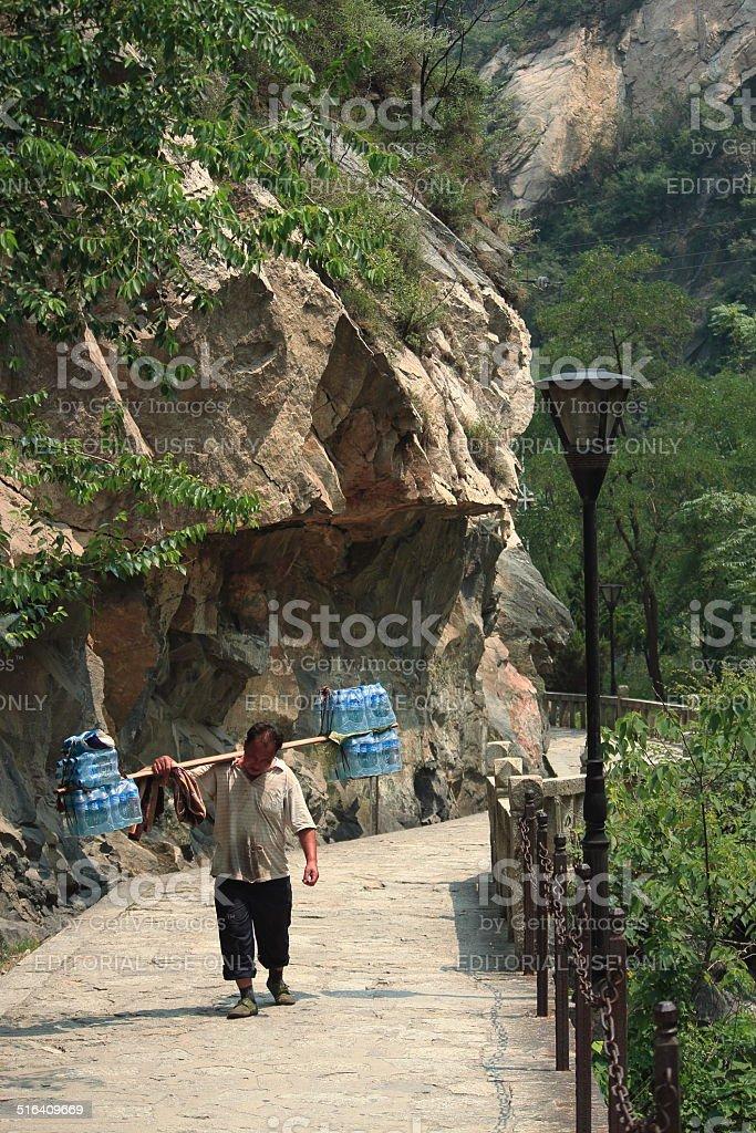 loader on the Mountain Hua stock photo
