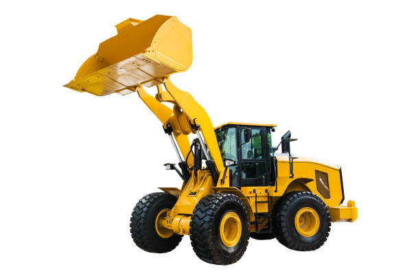Loader or Bulldozer excavator, isolated on white background with clipping path stock photo