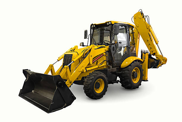 Loader A yellow earth mover isolated on a white background construction machinery stock pictures, royalty-free photos & images