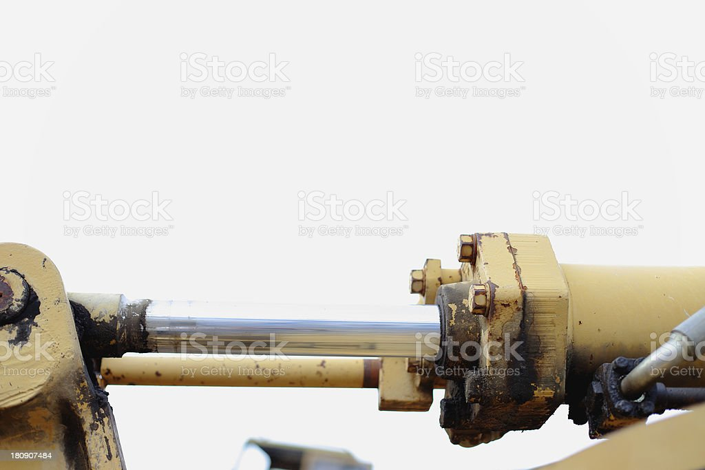 Loaders engine Shock absorber close up stock photo