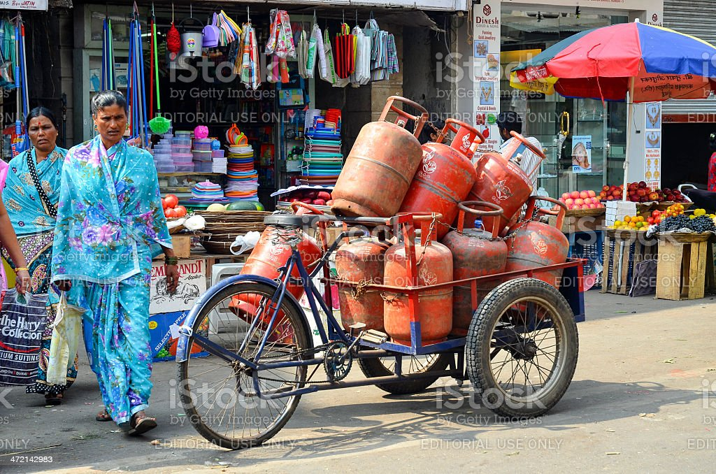Loadful of LPG gas cylinders stock photo