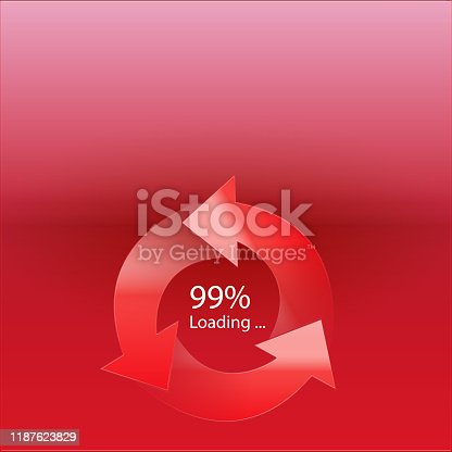 istock Loading 99% symbol concept on white background 1187623829