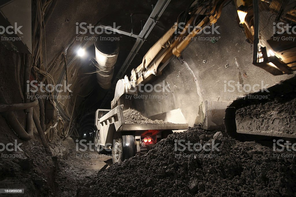 Loading a Dump truck stock photo