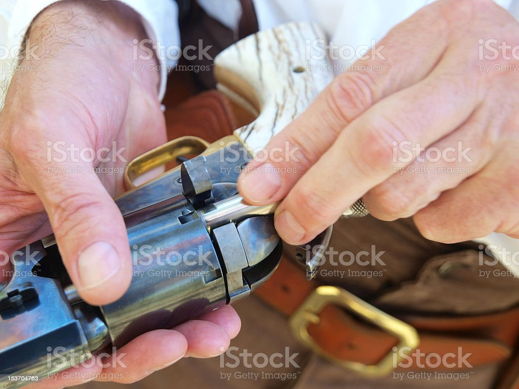 Loading an Old Gun stock photo