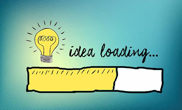 Loading bar with bulb, creativity, big idea stock photo