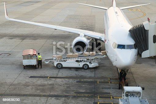 186763256istockphoto Loading cargo on the plane in airport. Cargo airplane loading or unloading in airport. 689838230