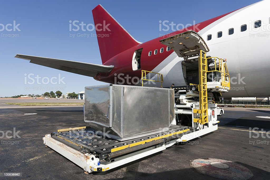 Loading cargo plane royalty-free stock photo