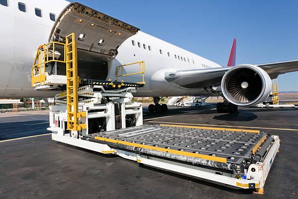 Loading cargo plane stock photo