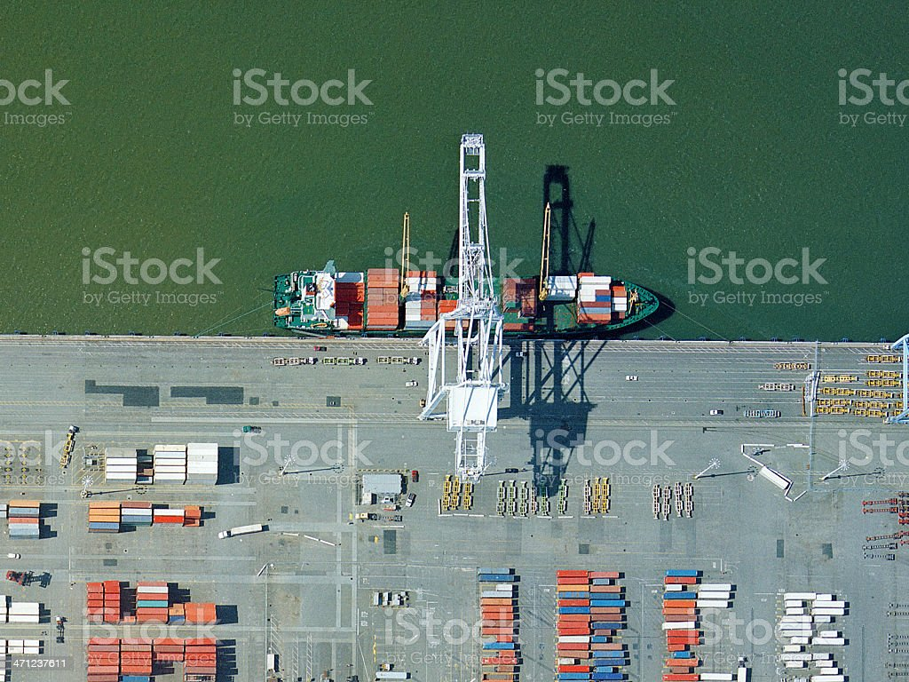 Loading Cargo Ship stock photo