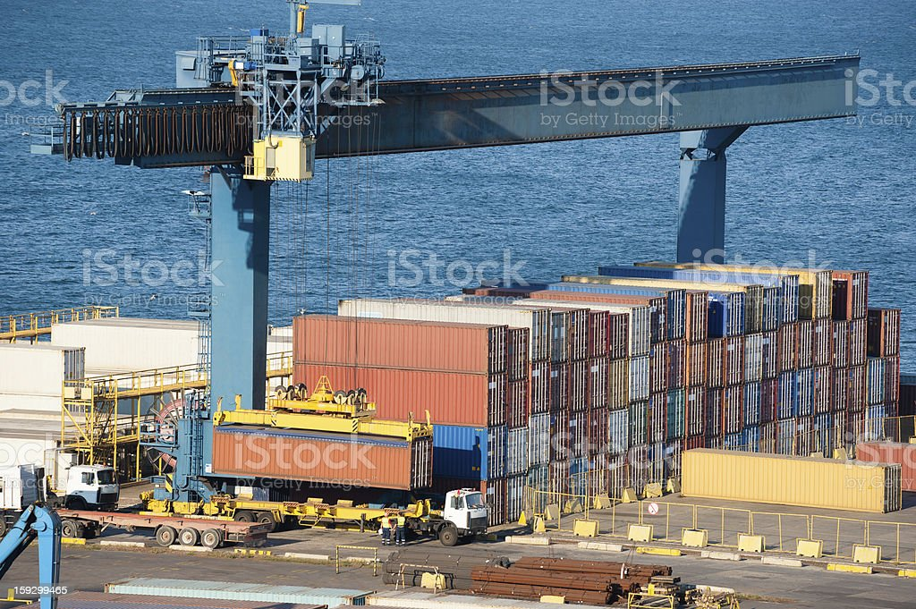 loading container on truck in port royalty-free stock photo