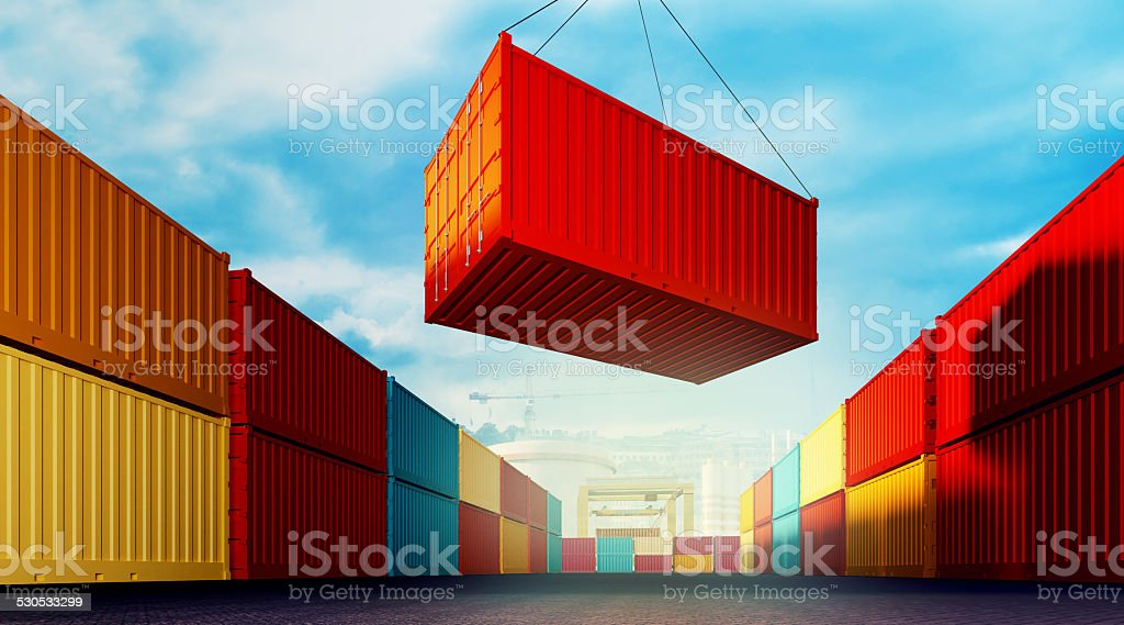 Loading container 3d rendered illustration of an industrial port with containers. Loading container Blue Stock Photo