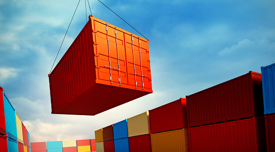3d rendered illustration of an industrial port with containers. Loading container