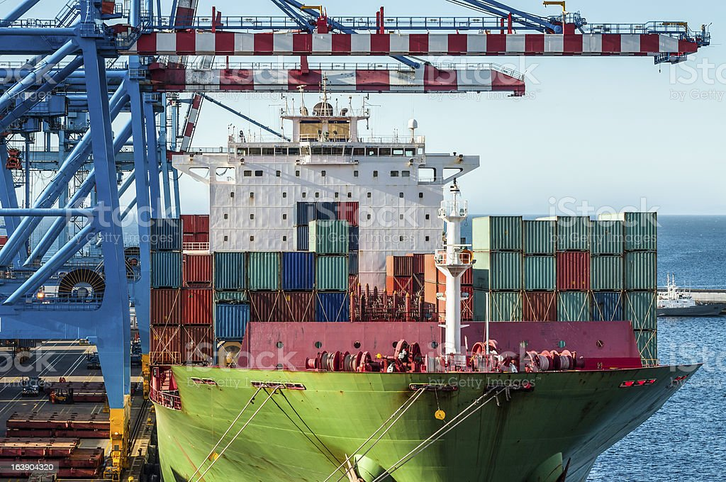 Loading Container Ship in the morning sun royalty-free stock photo