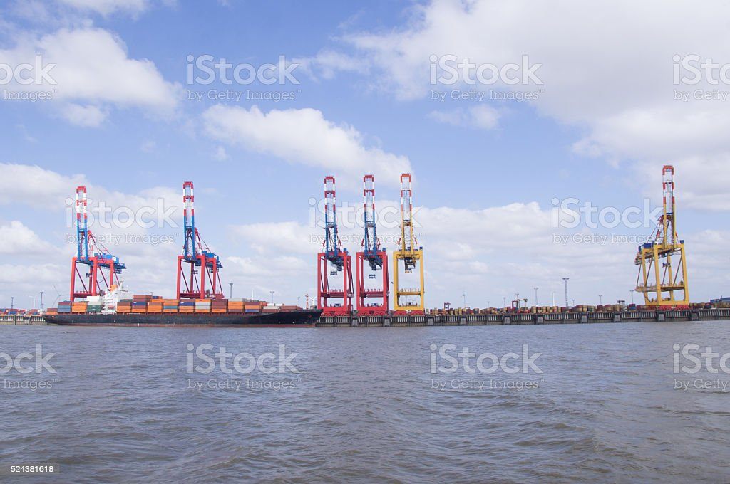 loading cranes at the deep sea port of bremerhaven stock photo