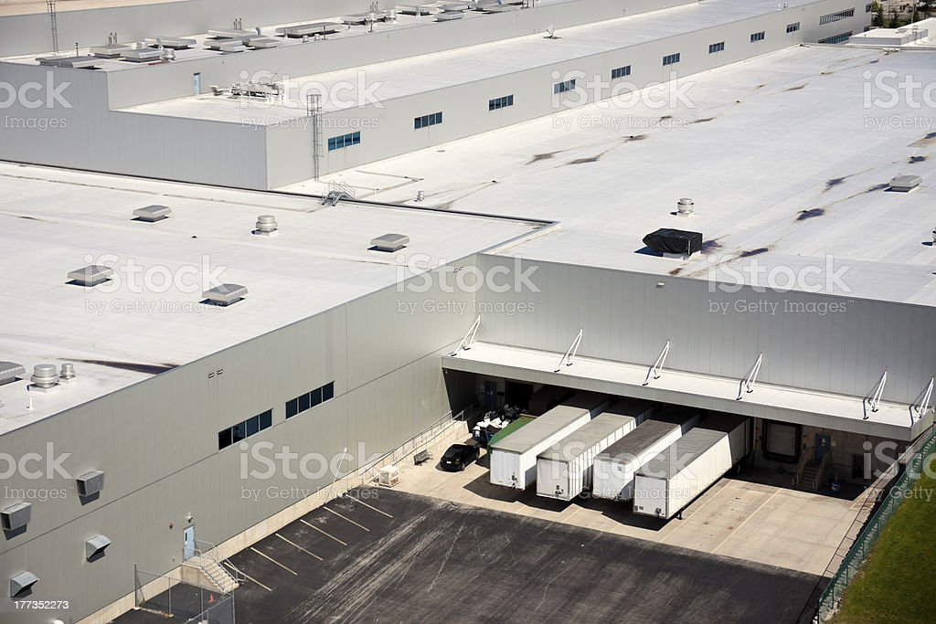 Loading docks in the industrial area. stock photo
