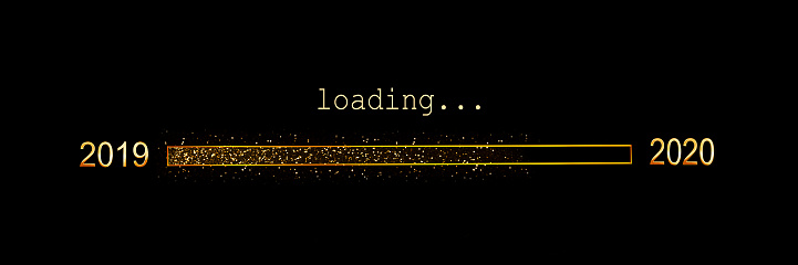 istock 2020 loading, gold glitter progress bar on black background, new year panoramic holiday web banner or greeting card 1185611353