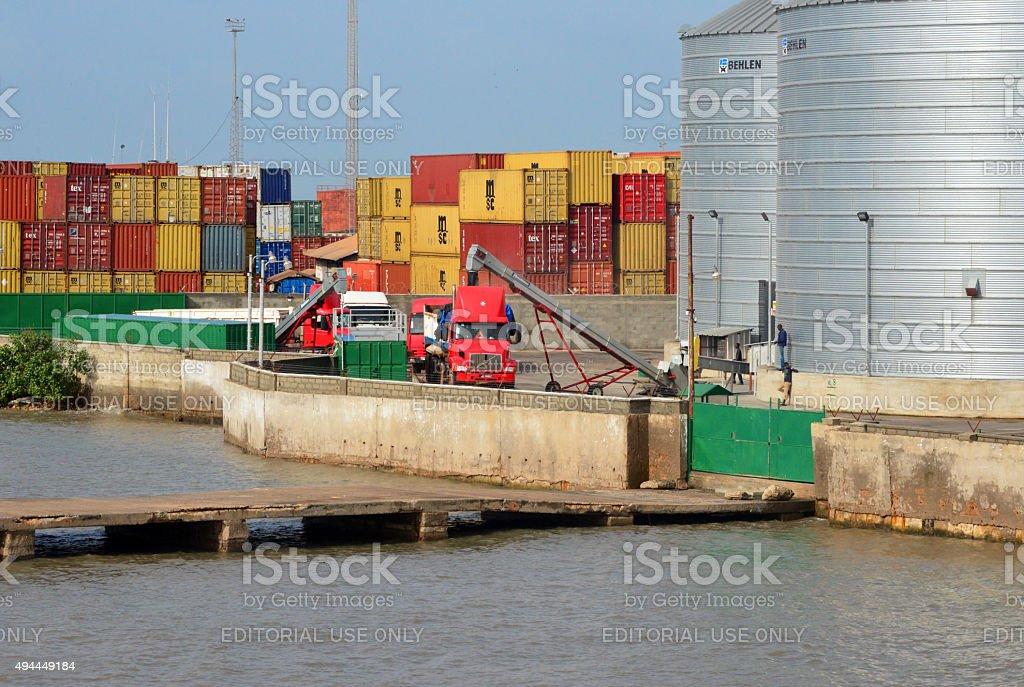Loading grain at Banjul port, Gambia stock photo