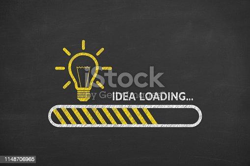 Loading Idea on Blackboard Background