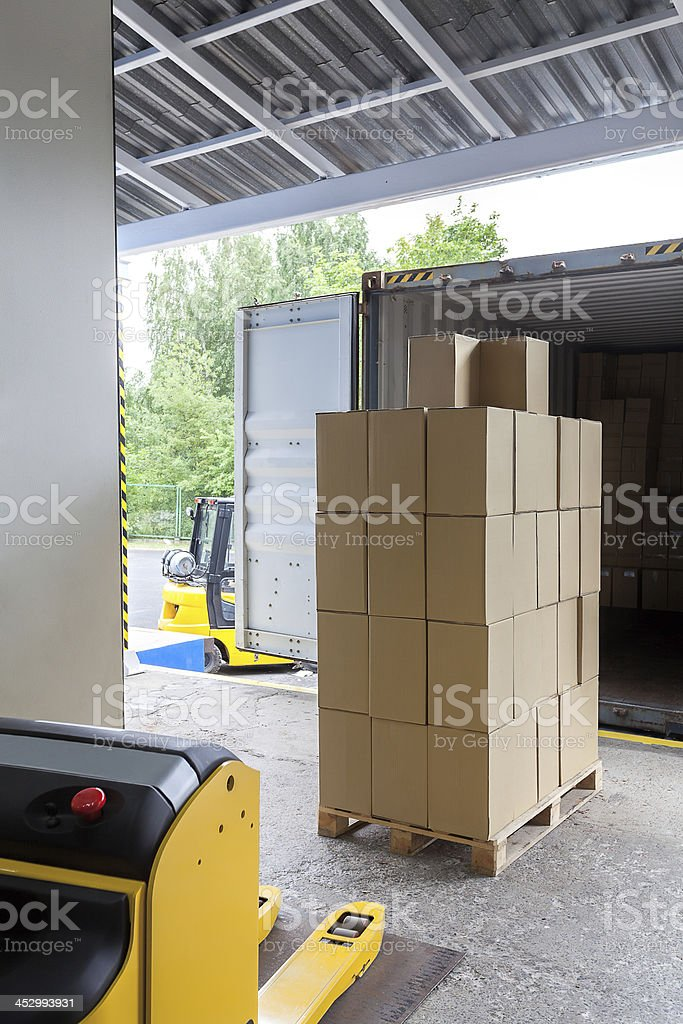 Loading in a warehouse stock photo
