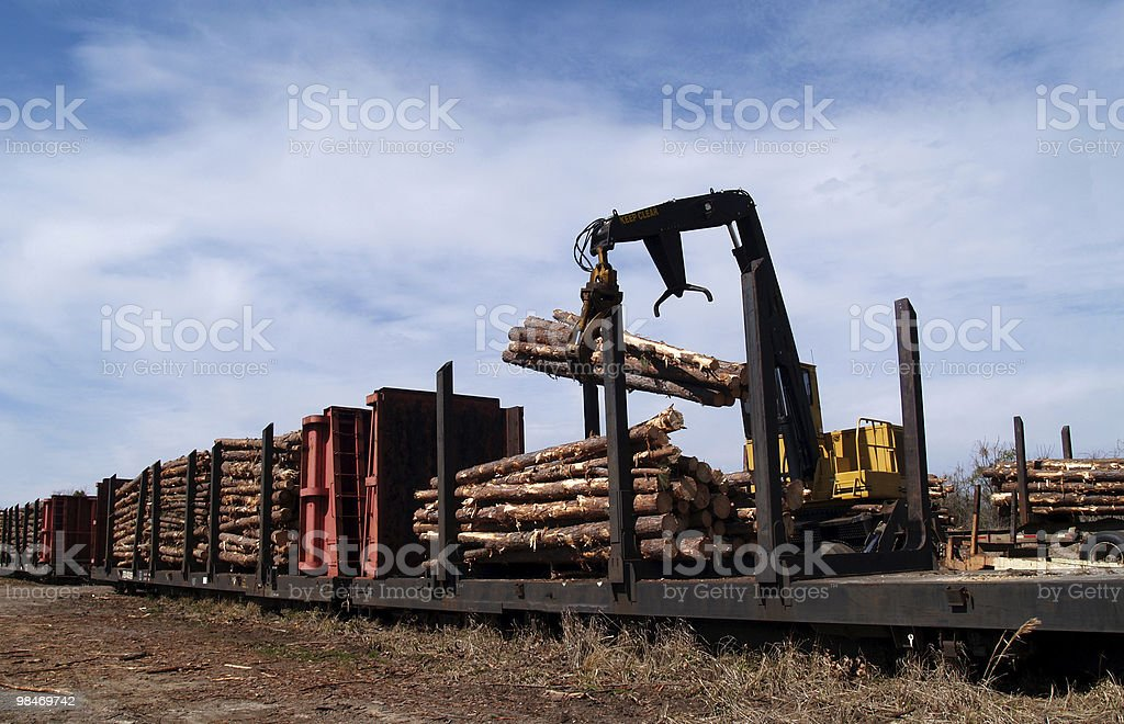 Loading Logs on a Railcar royalty-free stock photo