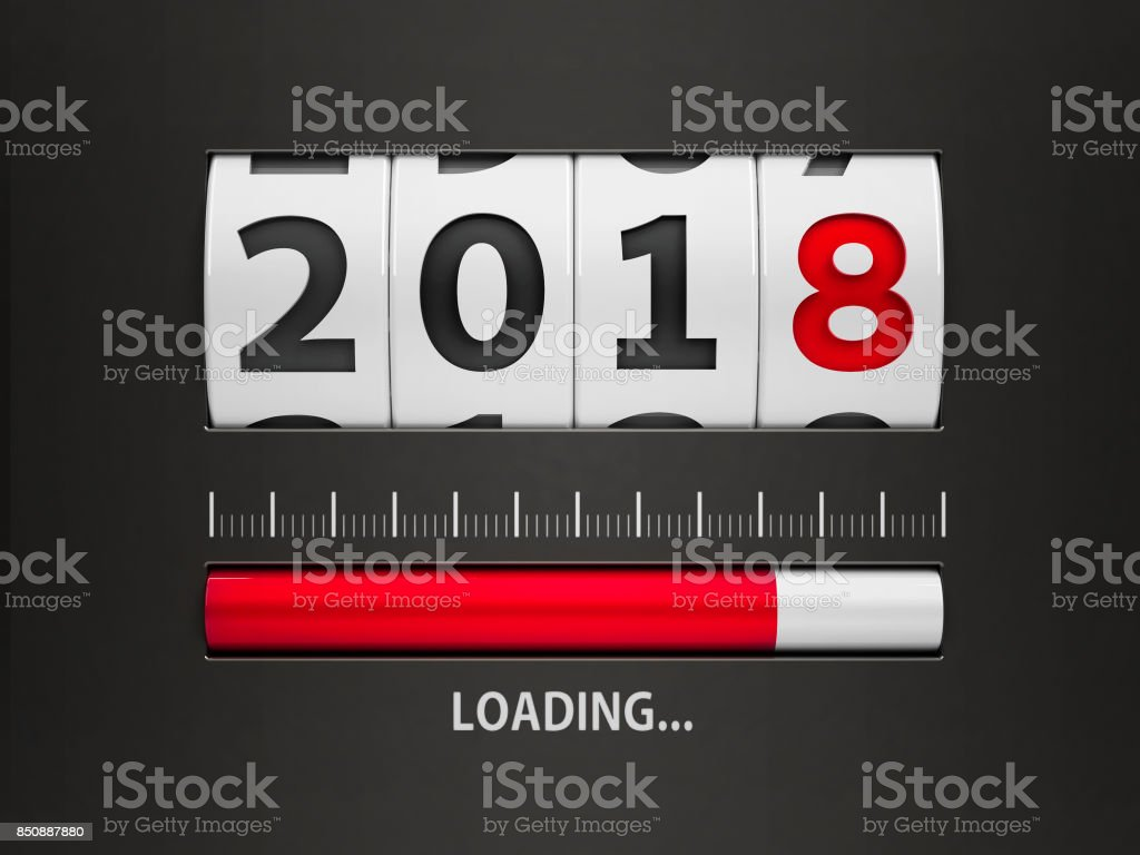 Loading New year 2018 counter stock photo
