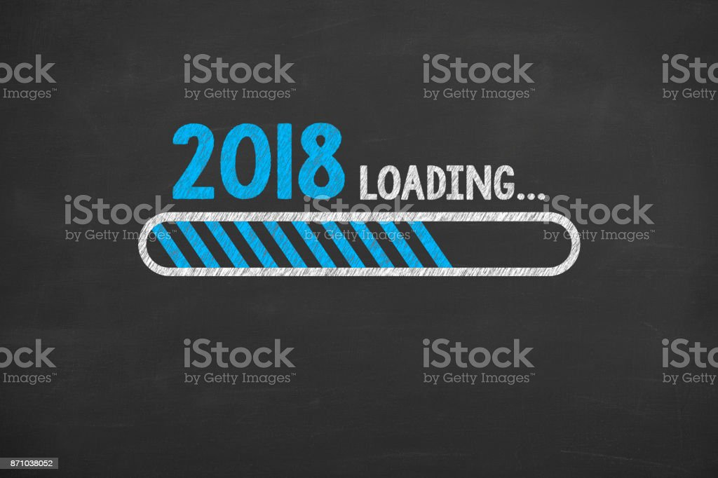 Loading New Year 2018 on Chalkboard stock photo