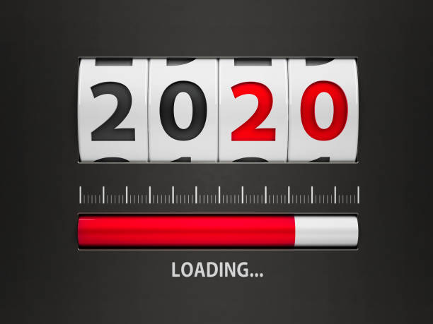 Loading New year 2020 counter stock photo