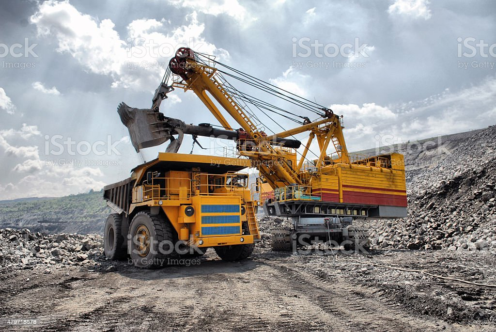 Loading of iron ore stock photo