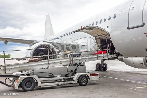 186763256 istock photo Loading of luggage to aircraft airport in the parking lot before departure. 981717828