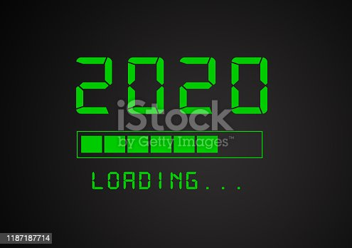 2020 Loading on Black Background