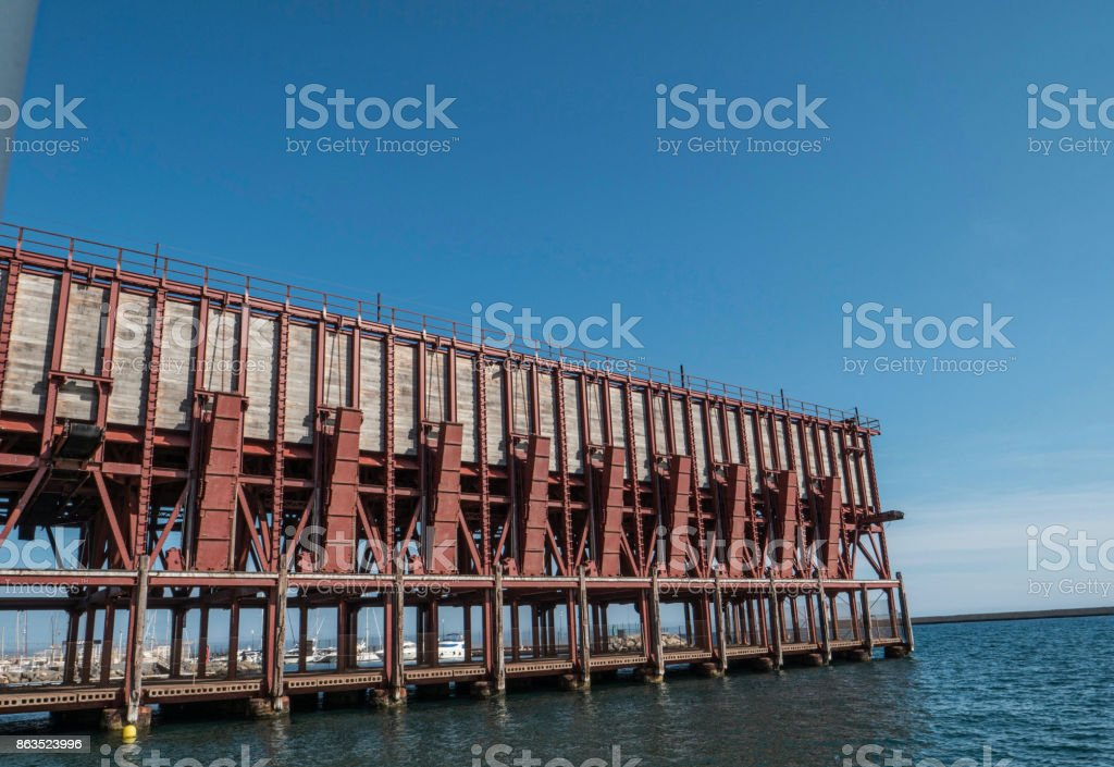 Loading platform of mineral placed in Almeria (Spain) of the society «The Alquife Mines and Railway Company Limited», Eclectic style, it was built by Gustave Eiffel school in 1908,  placed in Almeria, Andalusia, Spain stock photo