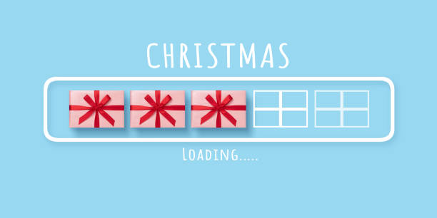Loading progress bar with pink gift boxes on blue isolated background stock photo