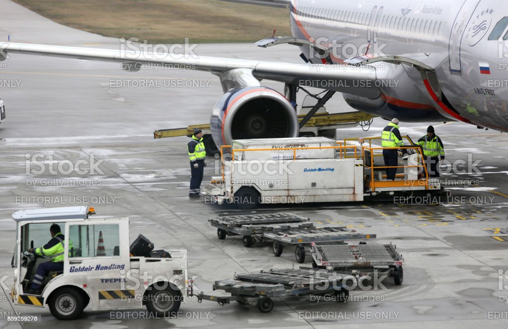 Loading Russian airplane stock photo