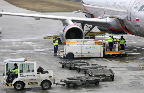 Loading Russian airplane stock photo