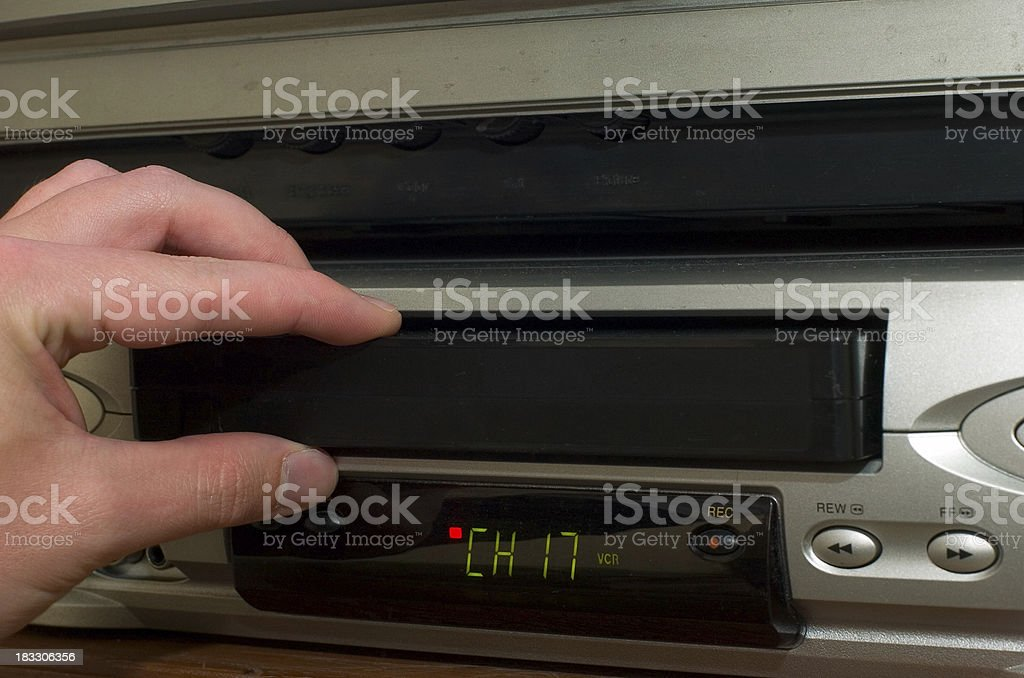 loading tape (vcr) stock photo