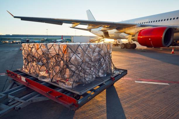 Loading to the aircraft stock photo