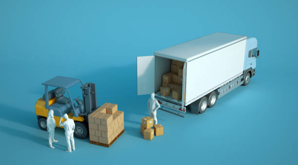 Camion de chargement sur un entrepôt - Photo