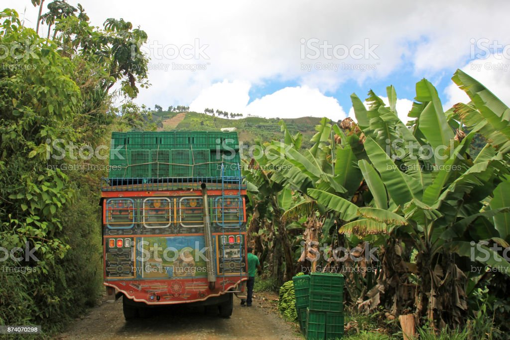 Loading truck with bananas for transporting, near El Jardin Antioquia, Colombia stock photo