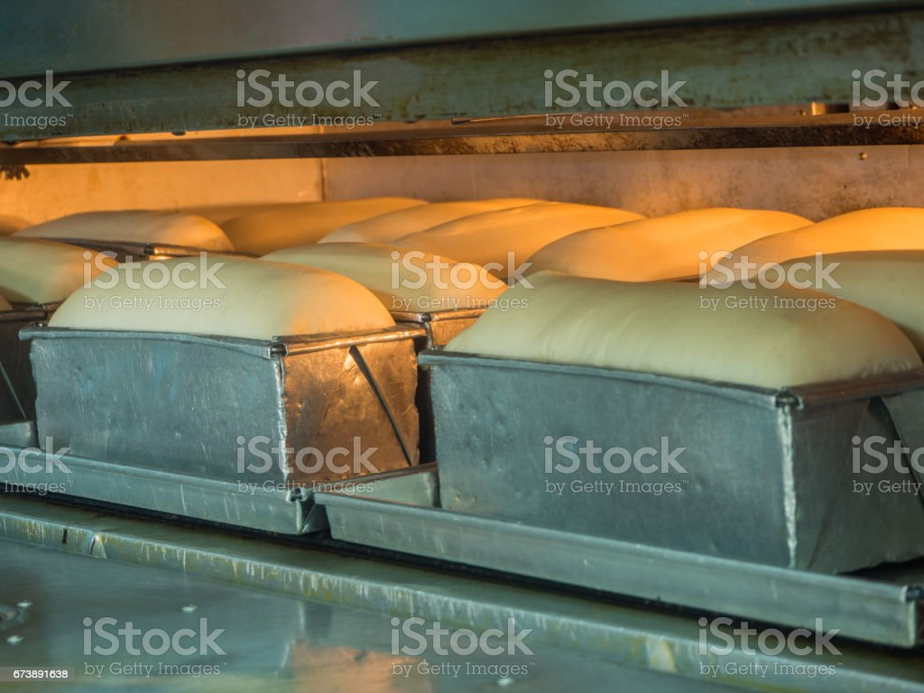 loaf bread in oven stock photo