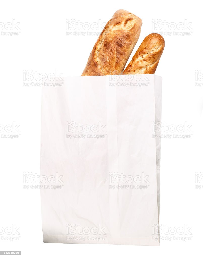 loaf of baguette paper bag stock photo