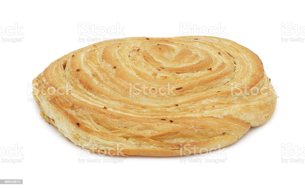 Loaf of baked hand-made bread, isolated royalty-free stock photo