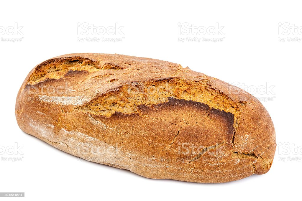 Loaf of bread on white background. stock photo