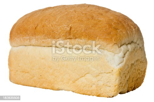 Fresh loaf of bread isolated on white.